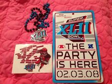 SUPER BOWL XLII LOT - FOOTBALL PARTY SIGN, DECAL & BEADS GIANTS PATRIOTS 2008