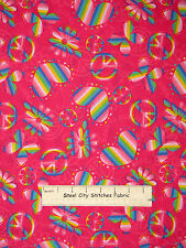 Peace Sign Cotton Fabric Rainbow Hearts Peace Butterfly Daisy on Pink  ~ Yard