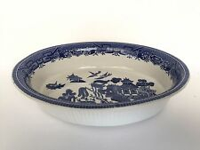 Churchill Blue Willow Pattern 9 Inch Oval Vegetable Bowl English Pottery