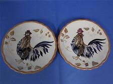Set of 2 Whole Home Canterbury Rooster Pottery Salad Plates
