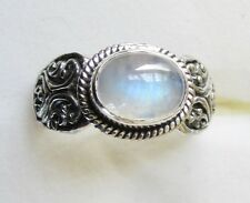 Rainbow Moonstone Ring in 925 Sterling Silver,  size 9.5