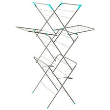 CLOTHES AIRER 3 TIER WINGED LAUNDRY DRYER CONCERTINA INDOOR OUTDOOR PATIO HORSE
