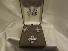 Nolan Miller Crystal Inspriation Pendant and Earring Set Flower Cross Silver