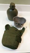 Water Canteen + Green Carry Pack + Tin Cup ARMY MILITARY  COMPLET SET