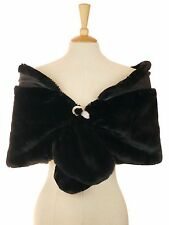 COAST BLACK FAUX FUR DIAMANTE BROOCH SHRUG CAPE 20'S 30'S CHARLESTON ONE SIZE