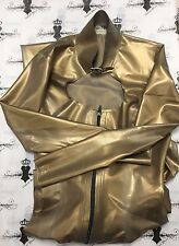 R475 Rubber Latex CATSUIT with BUCKLE NECK ** GOLD** 8  burlesque RETAILS £259
