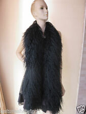 Elegant  Fashion hand-made real mongolian Lamb fur overlength scarf/ cape Black