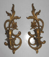 """Vintage Pair Gold Tone Scroll 13 1/8"""" TALL Wall Sconces PLASTIC Candle Holders"""