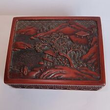 ANTIQUE CHINESE CINNABAR LACQUER SCENIC BOX