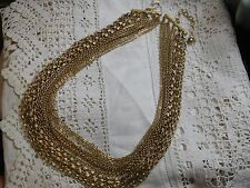 Stunning Heavy Vintage 1960s GOLD Cascading Chain Necklace signed TRIFARI
