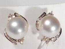 11.2mm white South Sea pearl earrings, diamonds, solid 14k white gold.