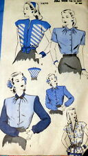 LOVELY VTG 1940s BLOUSE HOLLYWOOD Sewing Pattern 16/34