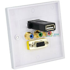 New VGA+USB 2.0+3RCA Video Audio Wall Face Plate Panel Gold Plated White Square