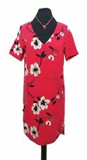 NEXT Dress Siize 8 Red w/WhIte & Black Floral Tunic Dress Bold Summer Holiday