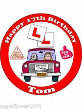 Personalised Learner Driver 17th birthday L plates edible cake topper round