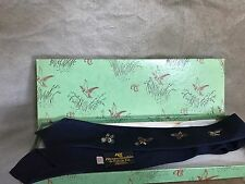 Vintage Navy SILK ABERCROMBIE & FITCH Embroidered Bird QUAIL NECKTIE Tie + BOX