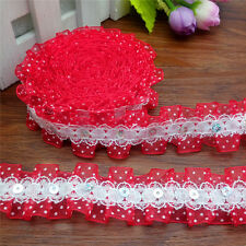 NEW 3 yards2-Laye Beautiful  Red Gathered organza Lace sequined Trim DIY MG-33