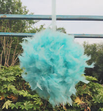 Feather Pom Poms Kissing Ball Decorate Ball Chandelle Ball 6 Inch-Tiffany Blue