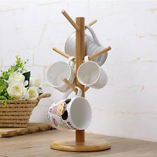 Strong Wood Mug Rack Holder Tree Coffee Cup Storage Stand Kitchen Organization