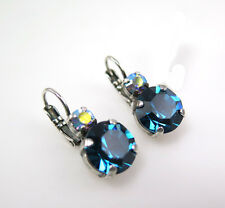 MARIANA SILVER EARRINGS with Swarovski Crystal Teal Blue Zircon Lever-back Wire
