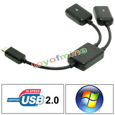 Micro B 2-Port OTG Host USB HUB Y Splitter Adapter Cable For Android PC Tablet