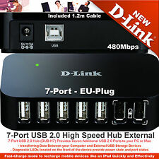 D-Link USB 2.0 Powered Hub 7-Port Fast for Laptop PC MAC 480Mbits DUB-H7 EU Plug