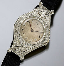 Rare Early Deco Platinum Topped 18K Gold Diamond Ladies Haas Wristwatch CA1920s