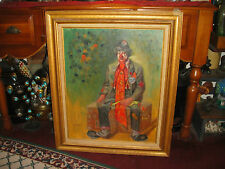 Vintage Clown Oil Painting On Canvas Board-Signed D'Achille-Old Seated Clown-WOW