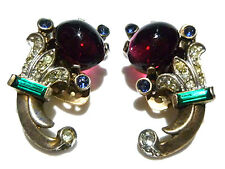 """1950s TRIFARI STERLING SILVER JELLY BELLY COLLECTORS ESTATE EARRINGS 1"""""""
