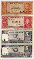 Four Banknotes by the Banco Central De Bolivia --Nice Notes !!