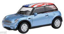 Model Power  HO 'MINI COOPER'  BLUE WHITE ROOF AMERICAN FLAG MP M INIS # 19133