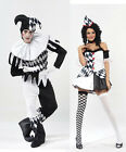 ADULT HARLEQUIN JESTER CLOWN CIRCUS COSTUME + HAT HALLOWEEN MEDIEVAL FANCY DRESS