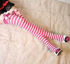 Lady Bow Stripe RAINBOW Costume Party knee thigh high Pantyhose Stockings opaque