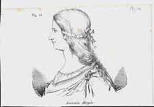 1837ca LUCREZIA BORGIA litografia Magazzino Pittorico Universale