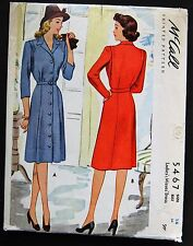 Vintage Original McCall 40's Afternoon Dress Pattern No. 5467
