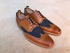 Barker Jackson Wing Tip Brogue Shoes Cedar Tan Calf Blue Tweed UK 8 B.N.I.B