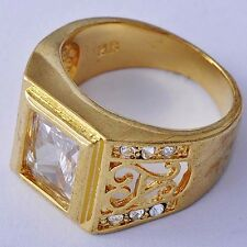 Fashion jewelry vintage Yellow Gold Filled Clear CZ Mens square Rings Size 9