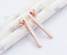925 Sterling Silver Rose Gold Vermeil Style Rectangle Stick Stud Earrings.