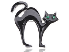 Unique Halloween Scary Black Cat Green Crystal Eyes Enamel Spooky Lady Brooch