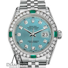 Women's Rolex Datejust 26mm Stainless Steel Ice Blue Color Emerald Diamond Watch