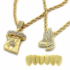 "Men's 14k Gold Plated 2 pcs Jesus & Prayer 4mm 30"" & 24"" Rope chain Bottom Grill"