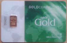 LINGOTE ORO 1G LBMA NADIR (1 gram gold bar). OPORTUNIDAD. ENVIO CERTIFICADO.