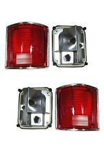 Tail Lights Lens And Housing 1973-1991 Chevy Gmc Truck Pair Chrome Trim Nice
