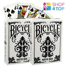 2 DECKS OF BICYCLE NAUTIC WHITE PLAYING CARDS STANDARD INDEX VINTAGE 1919 DESIGN
