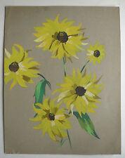 Gouache sur Papier Étude de Fleurs Tournesol c.1950 Y. MILIN #41 Peinture Dessin