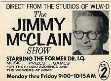 1962 WLWD TV AD~JIMMY McCLAIN SHOW~DR I.Q. on WLWD in DAYTON,OHIO