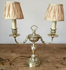 "PRELOVED DOUBLE CANDLESTICK STYLE ANTIQUE SILVERMETAL  TABLE LAMPS  19"" TALL"