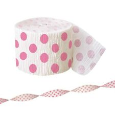 30ft Pink White Polka Dot Spot Style Party Crepe Paper Streamer Decoration