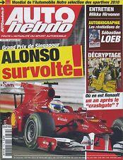 AUTO HEBDO n°1772 du 29 Septembre 2010 GP SINGAPOUR HIRVONEN MONDIAL de l'AUTO