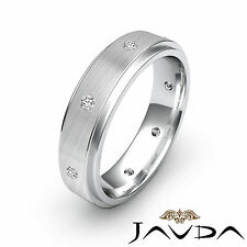 Bezel Set Round Diamond Mens Eternity Wedding Stunning Band Platinum Ring 0.16Ct